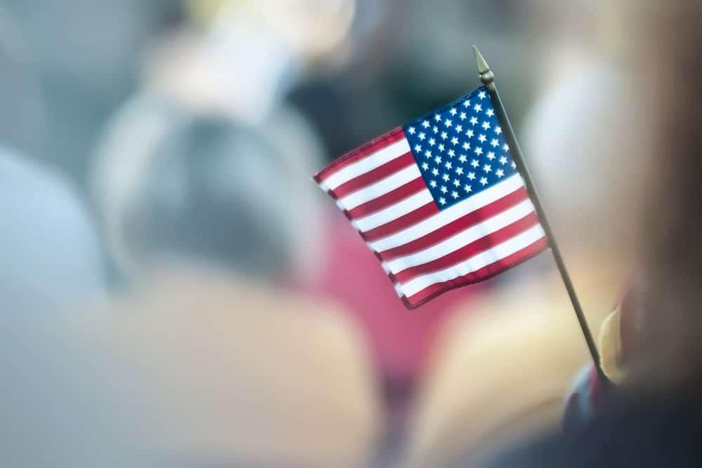 small american flag waving