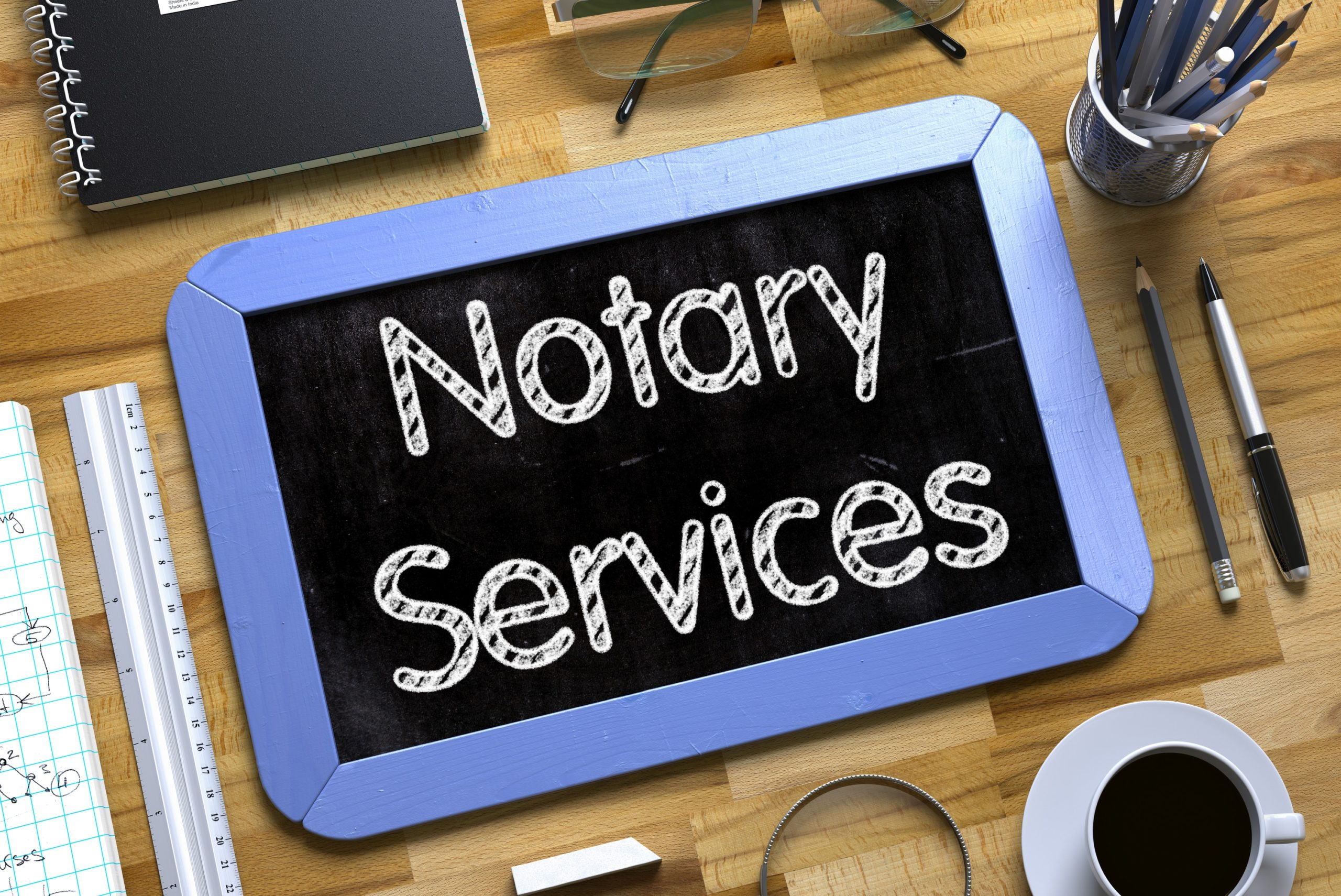 tablet with the word notary services