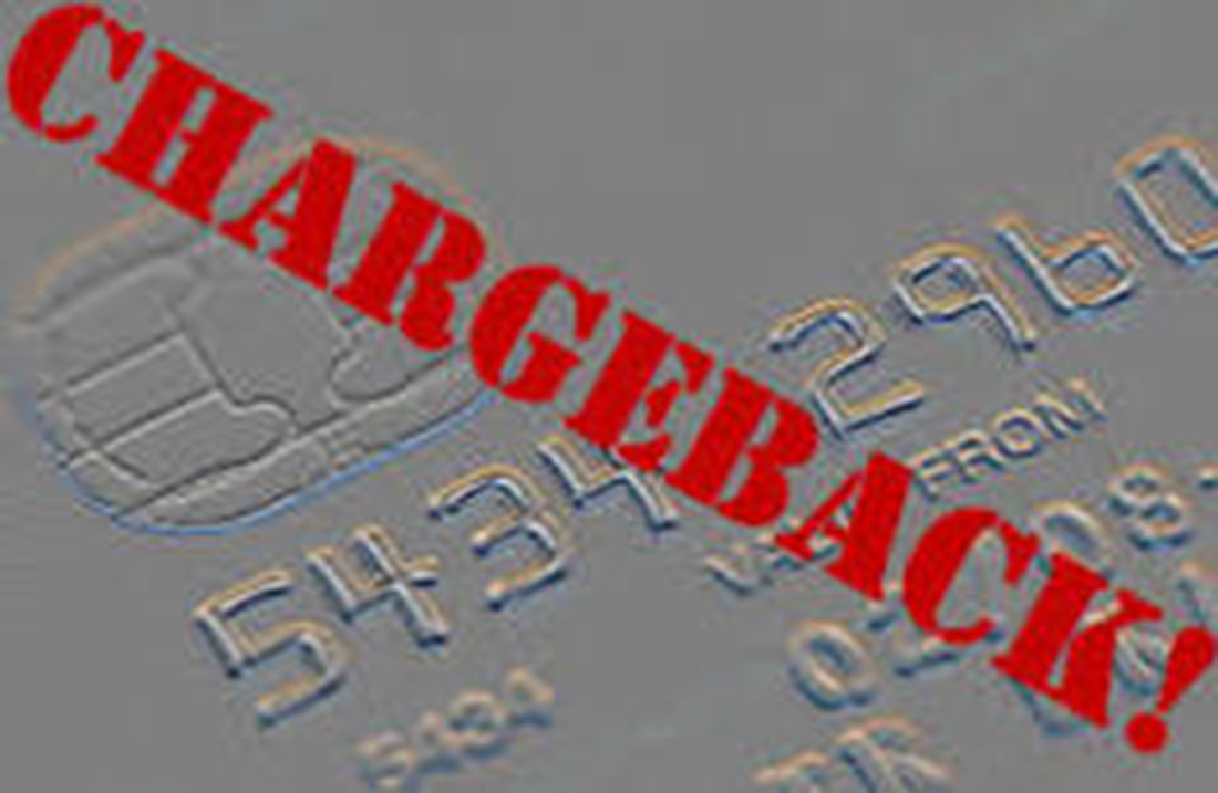 image of a credit card with chargeback label across card